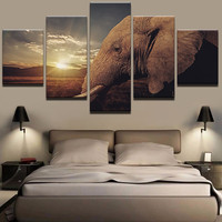 Modern HD Prints Framework Living Room Canvas Posters 5 Pieces Sunset African Elephant Landscape Pictures Wall