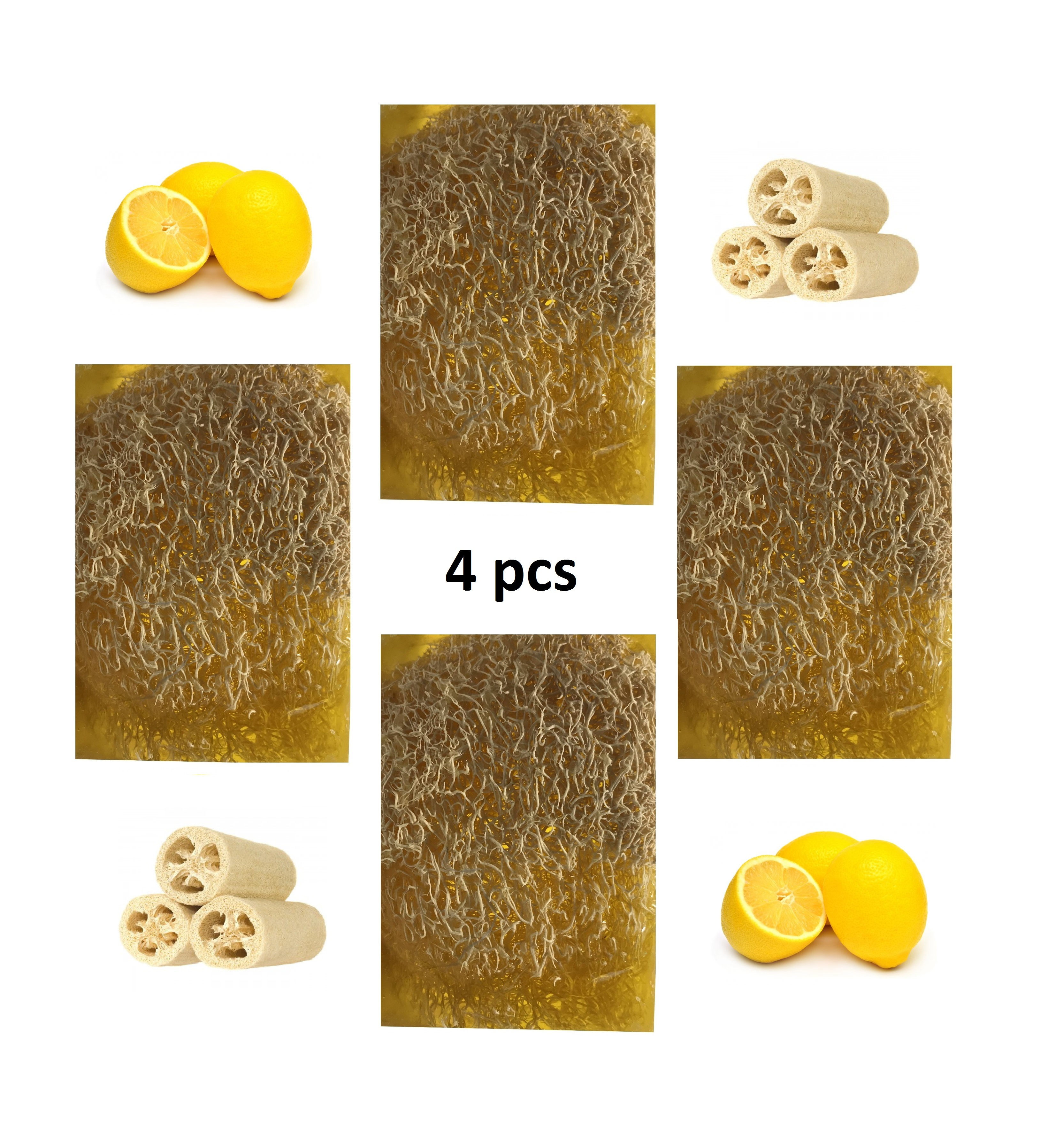 Essential Lemon Oil Soap With Luffa Massage Efect Skin NO Acne Antibacterial And Astringent 100grx4psc Natural Soaps