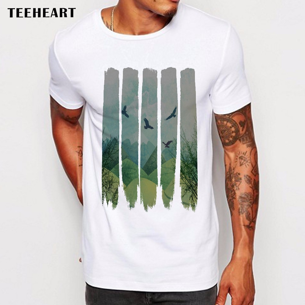 Design t shirts online - Men S 2017 Fashion Vintage Pines Eagles Mountain Design T Shirt Boy Cool Tops Hipster Printed Summer