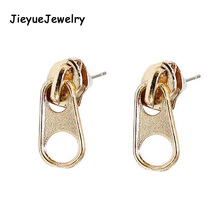 Drop Shipping,New Vintage Punk Metal Zipper Studs Earrings,Fashion Jewelry Wholesale 3 colors