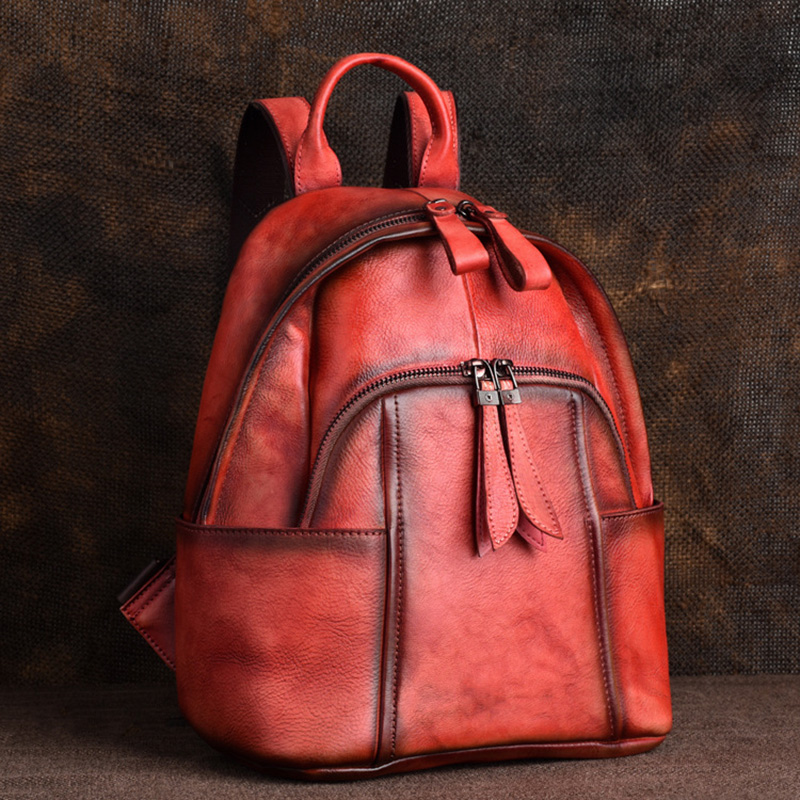 Genuine Leather Daypack Women Backpack Brush Color Bag Knapsack Real Cowhide School Book Bags Female Vintage Rucksack