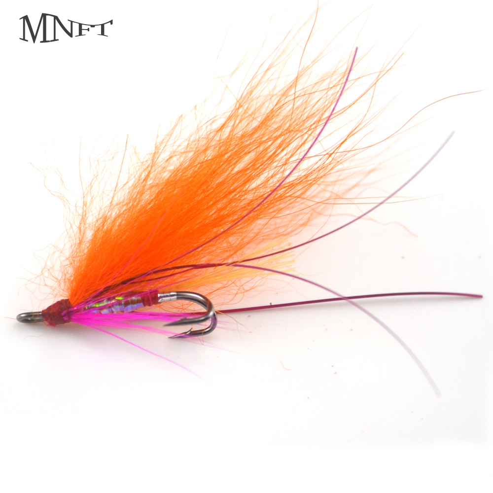 MNFT 4PCS Orange Long Hair Double Hooks Iris Diaphragm Body Flying Fishing Insects Outdoor Dry Hook Fishing Lure Boxed For Sale