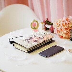 Image 2 - 2019 Yiwi Retro Travel Bind Planner czarny biały kwiat róży kreatywny notatnik podróżny 22x13cm