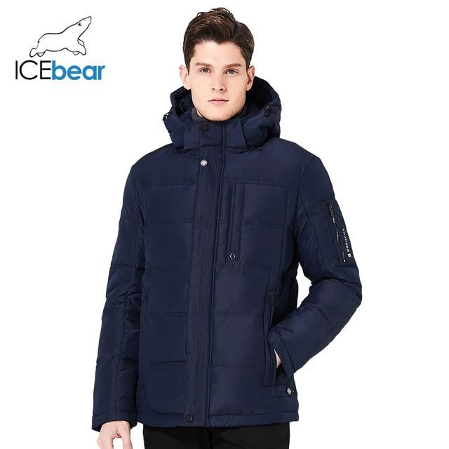 ICEbear 2017 Зимняя мужская тёплая куртка для отдыха модное ветрозащитное однотонное пальто 17MD818