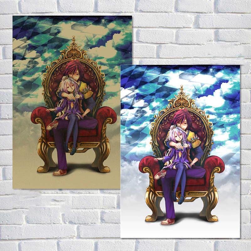 RAHAT MOMENT Anime Karikatür HAYıR OYUN NO YAŞAM Posteri Vintage Kraft Kağıt Çizgi Roman Boyama Bar Çocuk Odası Dekor QT546