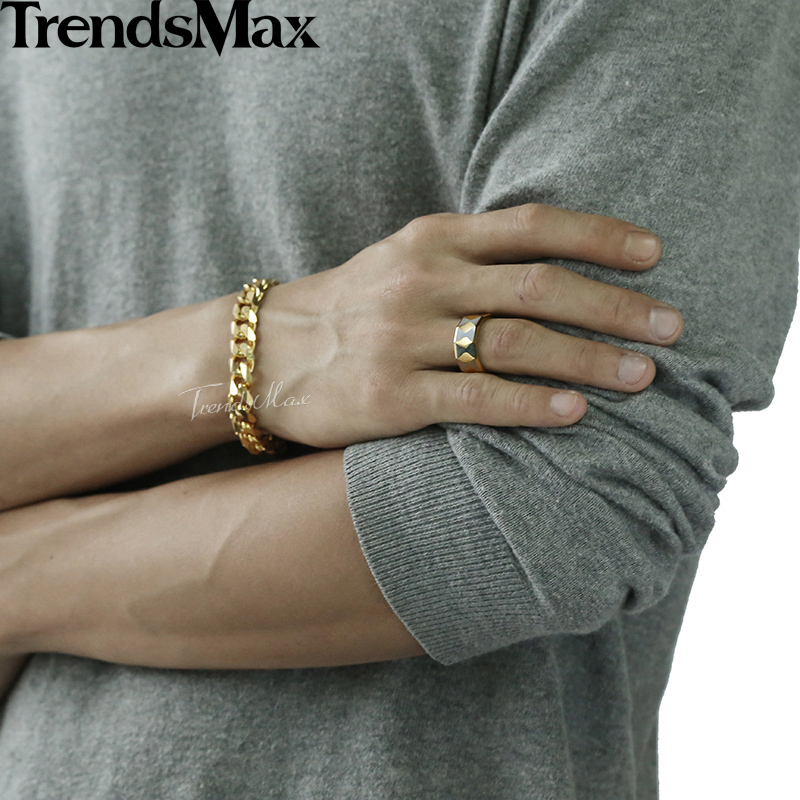 Trendsmax Faceted Band Ring Mens Boys Tungsten Carbide Polished Silver Gold 8mm KTR02