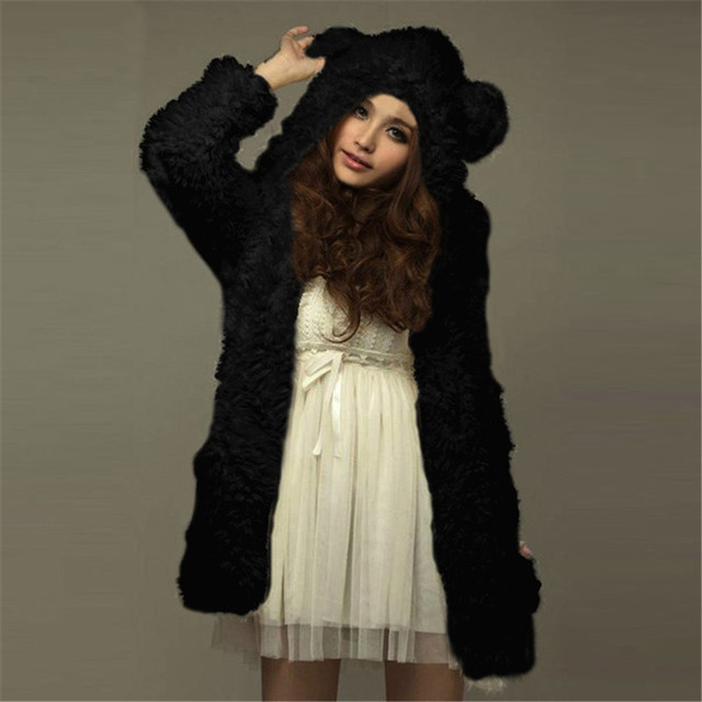 034198a5ab6 ZANZEA Teddy Bear Ears Coat Fleece Fur Hoodies Sweatshirt 2018 Autumn Winter  Warm Women Thick Solid Overcoat Hooded Jackets 3XL
