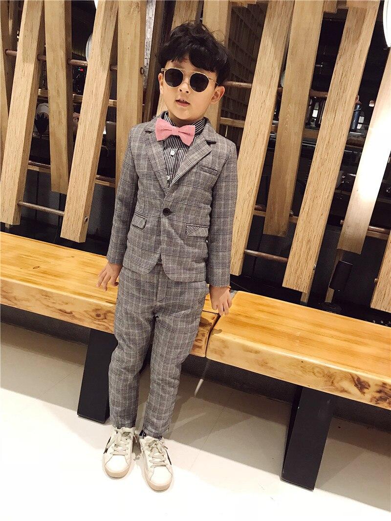 Warm Wedding Formal 2PCS/set Suit Boys Casual Blazer Jacket +Pant Two Suits For Kids Clothes 3 8T Children's Blazer 100 140cm