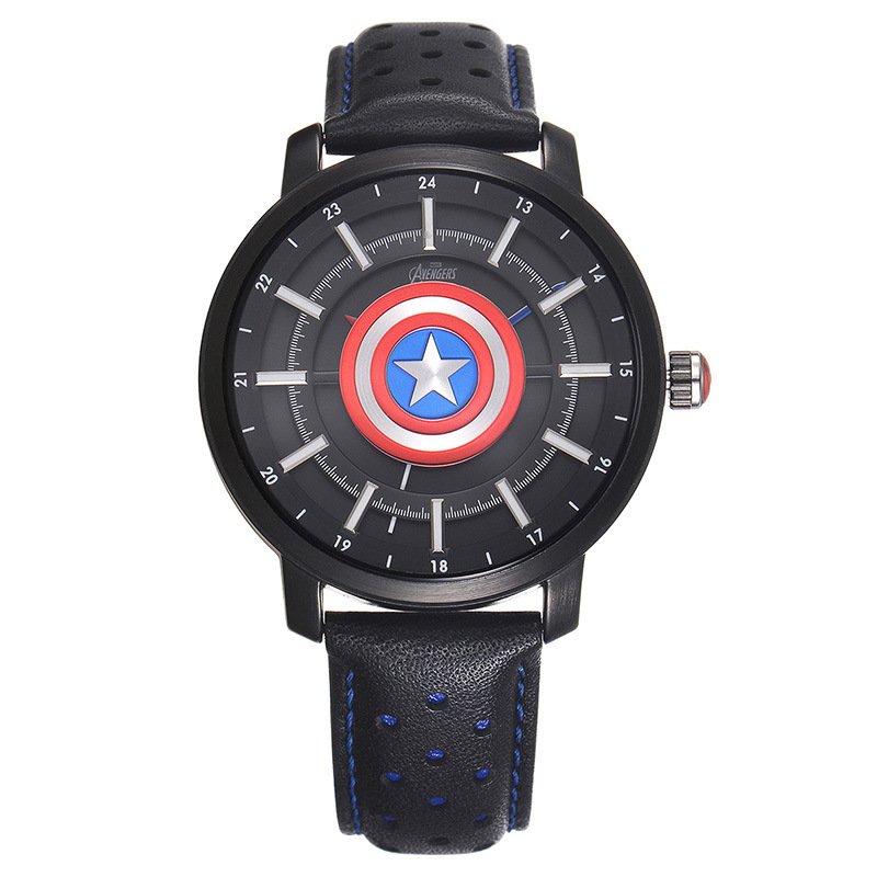 Disney brand NO.MV-82018 black blue Genuine leather quartz watches children for boys students Captain America shield waterproof 100% genuine disney fashion children watches for boys students captain america iron man leather watch strap luxury brand design