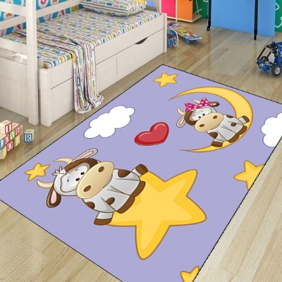 Else Funny Cows On Star Moon Clouds Red Heart Modern 3d Print Non Slip Microfiber Children Kids Room Decorative Area Rug Mat