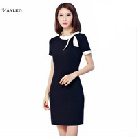 VANLED Genuine 2017 Fashion Elegant Work Women Office Dress Summer Black Bodycon Short Bow Tie OL