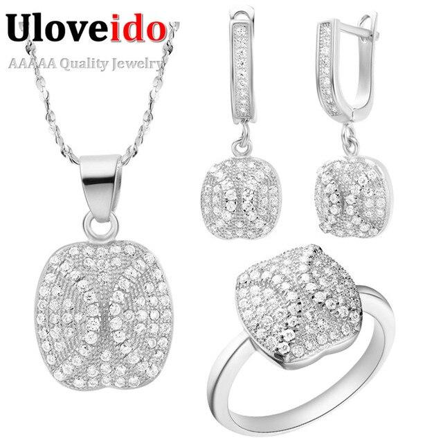 Uloveido Vintage Wedding Jewelry Sets Silver Cubic Zirconia Rose