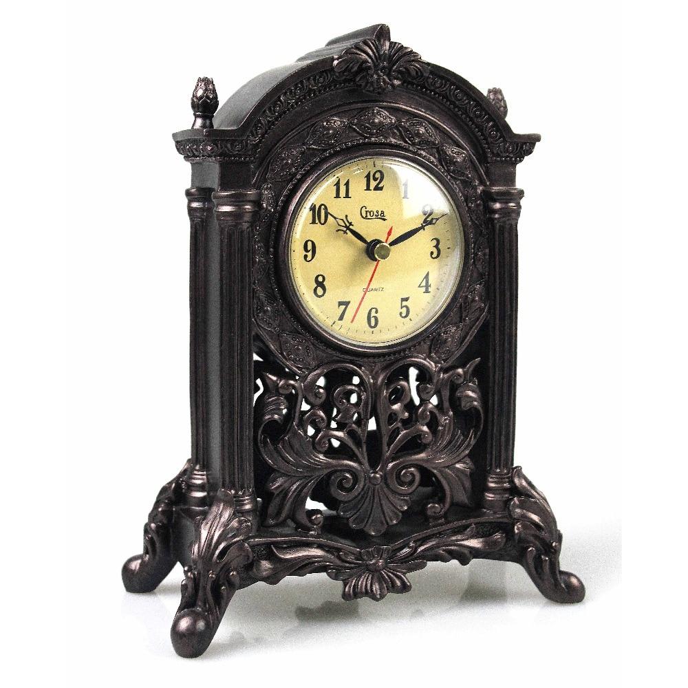 Classic Antiqued Quartz Mantel Clock Decorative Woodlike Sculpture Table Home Office Decor