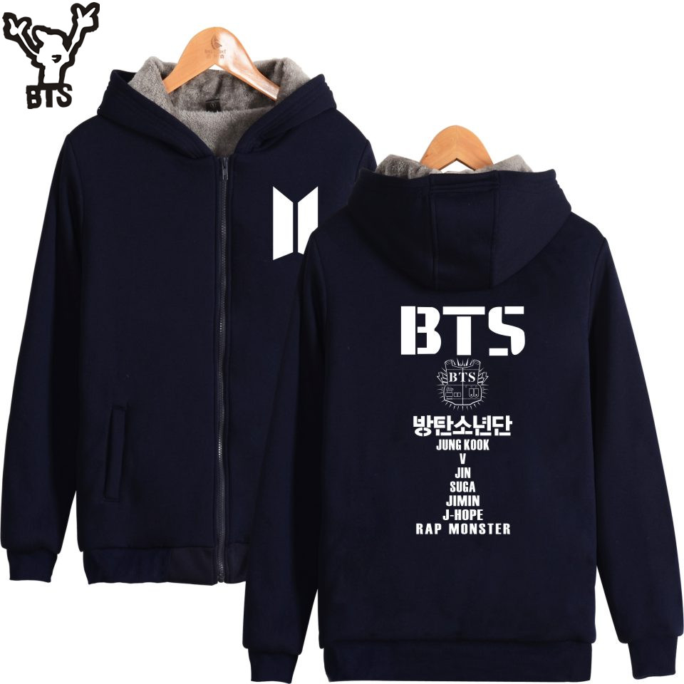 BTS Bangtan Boys Women Hoodies Sweatshirts With Zipper Fashion Womens Jackets Winter Coats And Jackets For Women Large Size 4XL