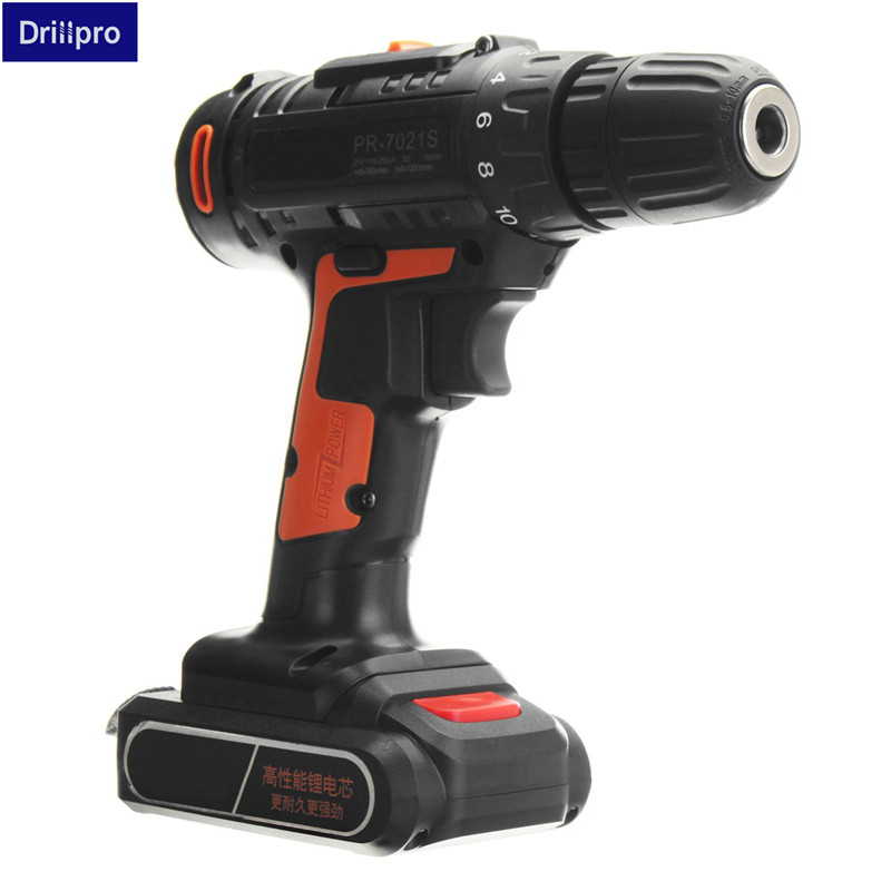 цена на 21V Double Speed Cordless Rechargeable Lithium Battery Electric screwdriver mini drill kit with 2 batteries