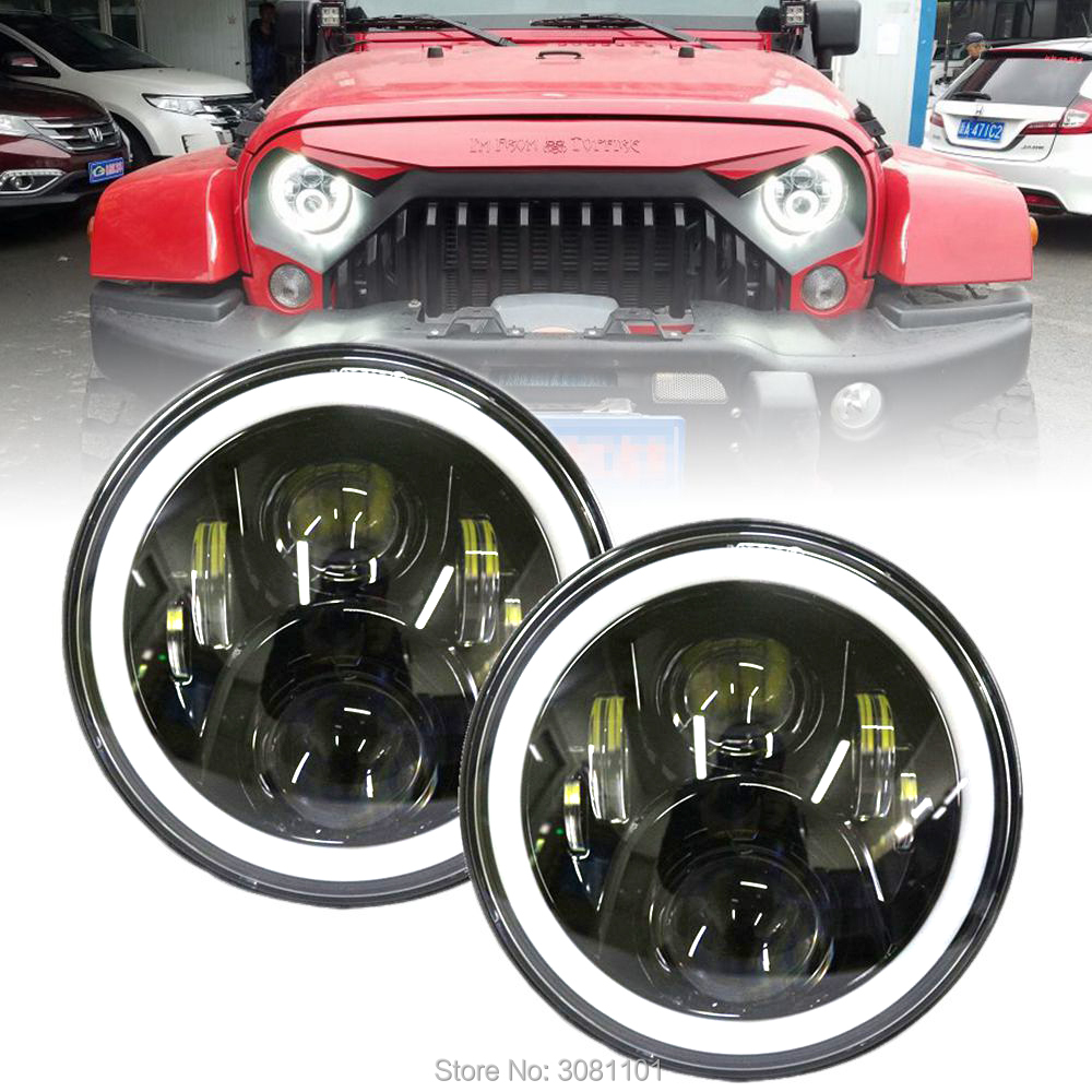 7 INCH 12-30V Black Headlamp with White-Amber Halo Ring  LED Headlights for Jeep Wrangler/1992-2001 AM General Hummer etc.