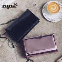 AEQUEEN New Women Laser Flap Mirror Chain Shoulder Bag Black Small Ladies Mini Crossbody Envelope Clutch
