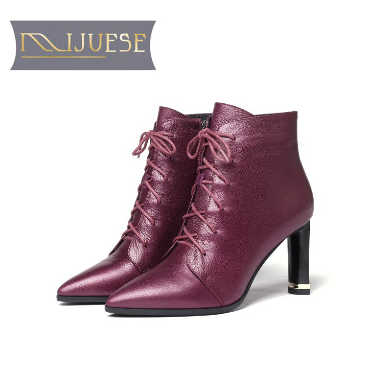 MLJUESE 2019 women Mid calf boots cow leather lace up winter short plush high heels women martin boots casual boots size 33-43 цена