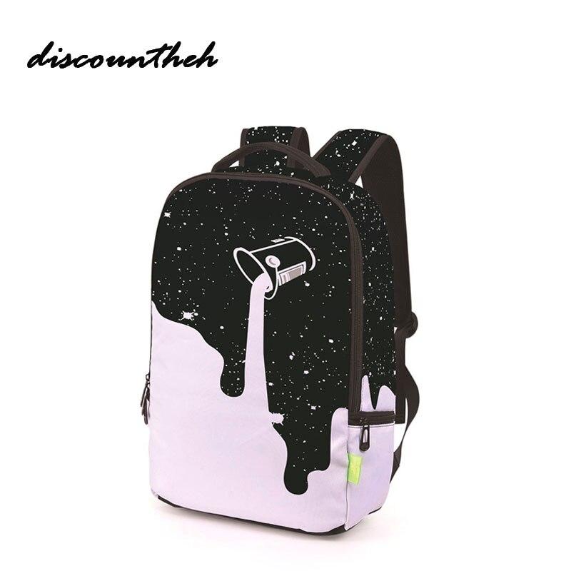 цены на Fahion Backpack For Teenage Girls School Backpack Bag Colorful Blue Colorful Printing Canvas Female Backpacks For Students в интернет-магазинах
