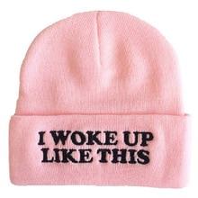 """i Woke Up Like This""cuffed Beanie Unisex Women Men Warm Winter Knit Hats Caps Beanies Skull Cap Hipster Rap Hip Hop Hat"