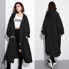 ZANZEA Women Retro Loose Long Sleeve Zipper Solid Hoodies Sweatshirts Warm Female Winter Hooded Outwear Jacket Coats Oversized