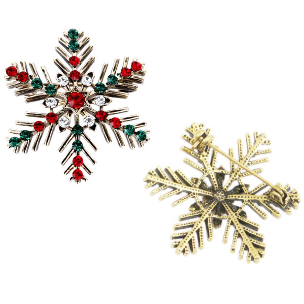 Classic Beautiful Christmas Snowflake Crystal Rhinestone Brooches Pin Female Femme Broche Costume Bijoux Accessory Gift