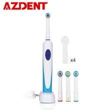 Azdent nova escova de dente elétrica rotativa, recarregável com 4 peças, escova de dentes rotativa para limpeza profunda, cuidados orais