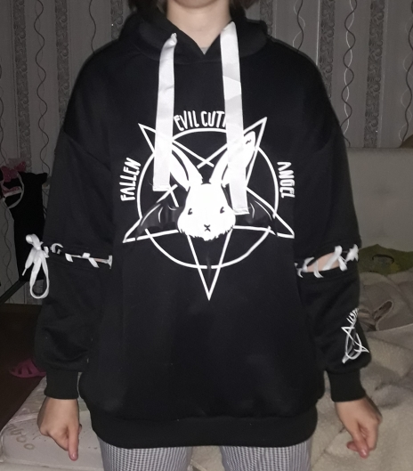 Harajuku Pentagram Print Lace Up Women Fleeces Hoodies Gothic Punk Oversize Velvet Hooded Sweatshirt Pullover Streetwear photo review