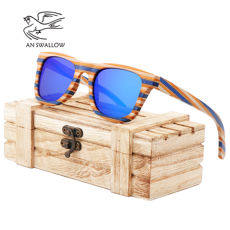 AN SWALLOW100 Wooden Sunglasses Women Mirror Goggle Square Skateboard Sunglasses Bamboo Vintage Polarized Bamboo Sunglasses Fo in Women 39 s Sunglasses from Apparel Accessories