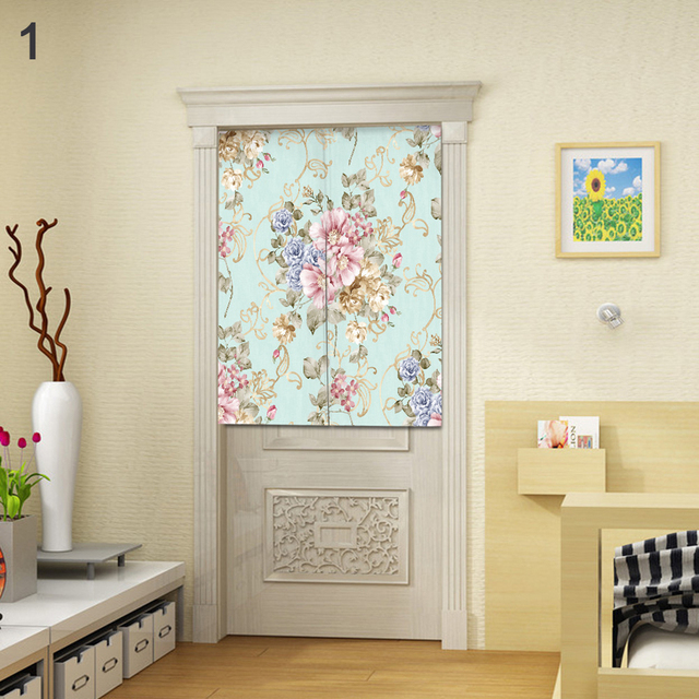 Noren Anese Style Room Divider Fl Print Doorway Curtain With Tension Rod