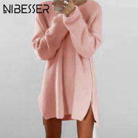 NIBESSER Fashion Long Sweaters Dress Women Knitted Sweater Pullovers 2017 Antumn Casual Loose Zipper Irregular Sweaters