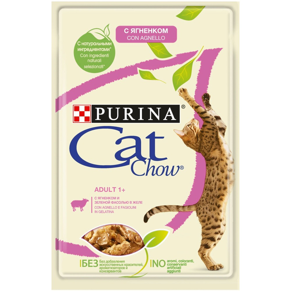 Wet feed Cat Chow for adult cats with lamb and green peas, pouch, 24x85 g.
