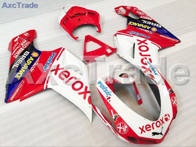 Motorcycle Fairings Kits For Ducati 848 1098 1198 07 - 12 2007 - 2012 ABS Injection Fairing Kit Bodywork Kit White Red A504