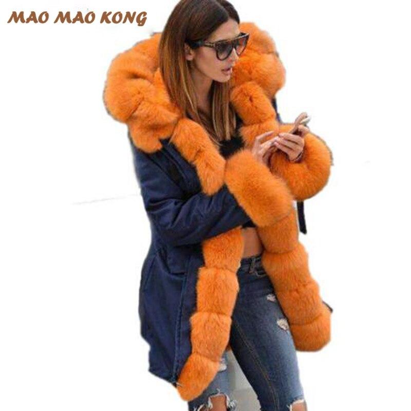 2017 Donne vera pelliccia parka inverno caldo naturale grande pelliccia di volpe cappotto con lusso rex rabbit fur fodera army green camouflage giacca