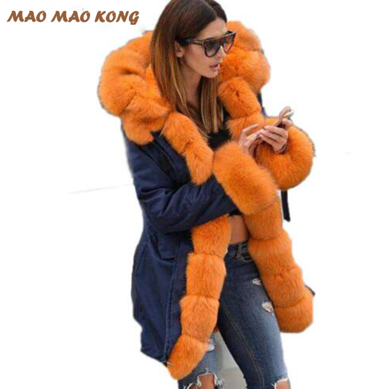 2017 Femmes de la vraie fourrure parka hiver chaud naturel grande fourrure de renard manteau avec de luxe rex de fourrure de lapin doublure armée camouflage vert veste