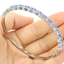 Deluxe Top AAA Rich Blue Violet Tanzanite Gift For Girls Silver Bangle Bracelet Length 7.5inch 6x4mm