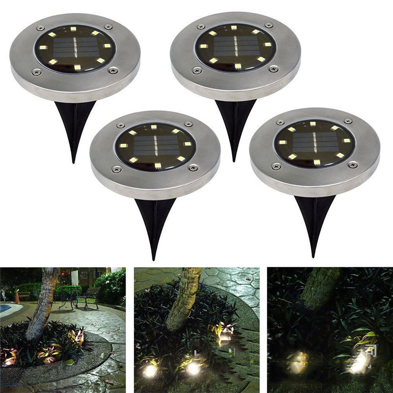 Solar Powered Ground Light Waterproof Garden Pathway Deck Lights With 8 LEDs Solar Lamp  ...