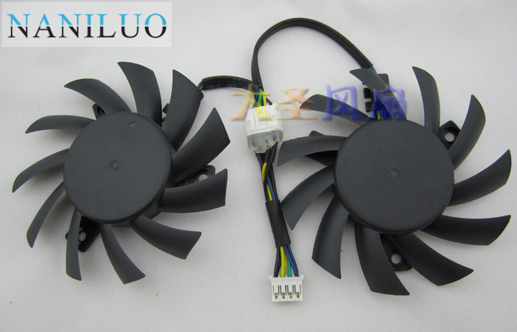 NANILUO Free Shipping 2pcs/lot PLA07010S12HH 12V 0.50A 65mm For MSI R5770 N450GTS HAWK Graphics Card Cooling Fan 4Pin 4Wire