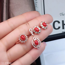 KJJEAXCMY boutique jewelry 925 sterling silver inlaid natural gemstone red coral female ring necklace pendant earrings set suppo kjjeaxcmy fine jewelry 925 sterling silver inlaid natural topaz gemstone female pendant ring earrings set to send necklace suppo