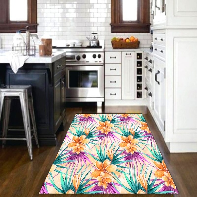 Else Tropical Orange Flowers Green Purple Leaves 3d Print Non Slip Microfiber Kitchen Modern Decorative Washable Area Rug Mat
