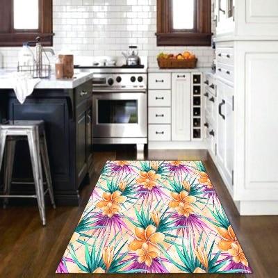 Else Tropical Orange Flowers Green Purple Leaves 3d Print Non Slip Microfiber Kitchen Modern Decorative Washable Area Rug Mat