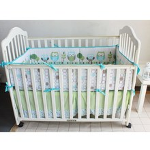 Cute Owl Baby Infant Cot Crib Bumper Safety Protector Toddler Nursery Bedding Set Cushion Pad Baby Care Supplies 4Pcs/Set