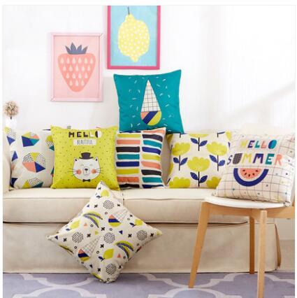 45x45cm Cute Cartoon Animal Printed Cushion Cover Linen Throw Pillowcase Car Sofa Pillow Cover Children Room Decorative