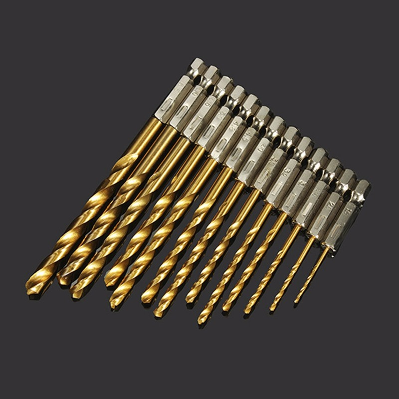 DANIU 13pcs 1.5-6.5mm HSS Titanium Coated 1/4 Inch Hex Shank High Speed Steel Drill Bit Set Power Tool Set High Speed Steel ninth world 13pcs 1 5 6 5mm hexagonal screw drills power tools woodworking tools high speed steel 1 4 hex shank drill bit set