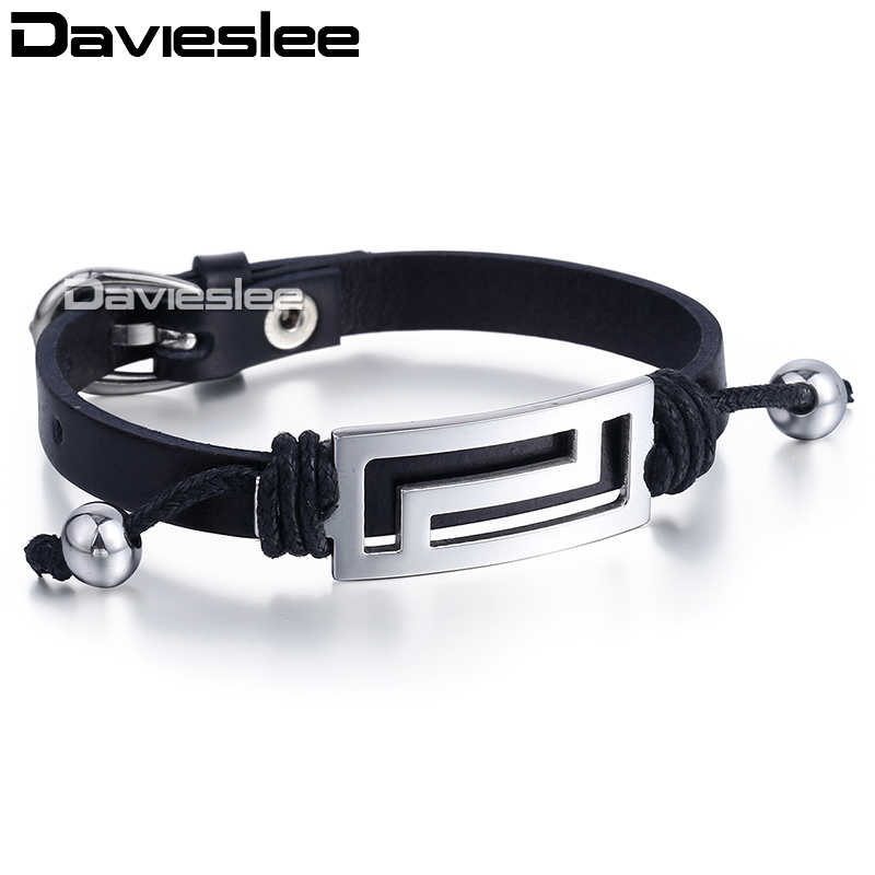 Punk Mens Bracelet Man Made Leather Silver Tone Greek Pattern Charm Black Genuine Buckle Wristaband Adjustable LUB149
