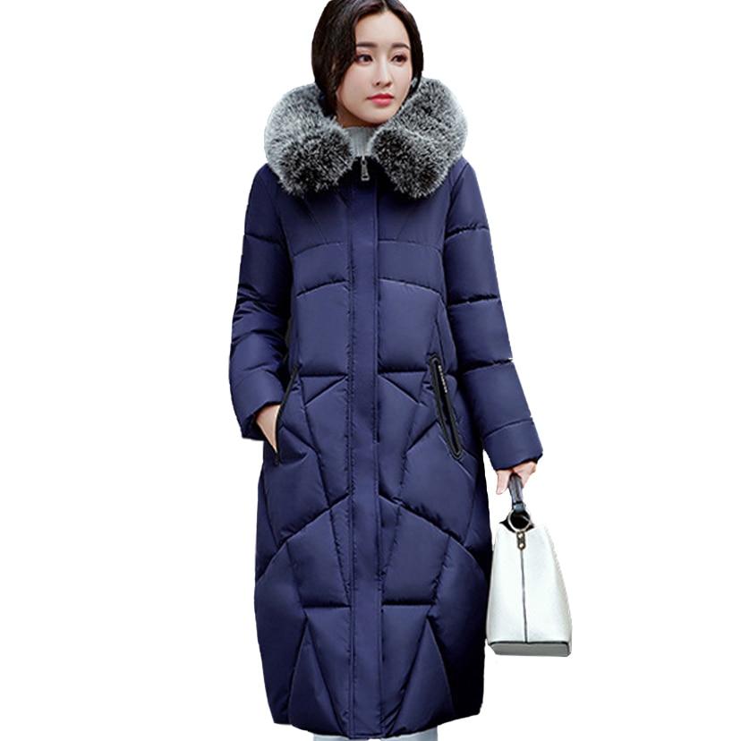 New Casual Warm Long Sleeve Ladies Basic Coat Feminina Jacket Fur Collar Women Parkas Cotton Women
