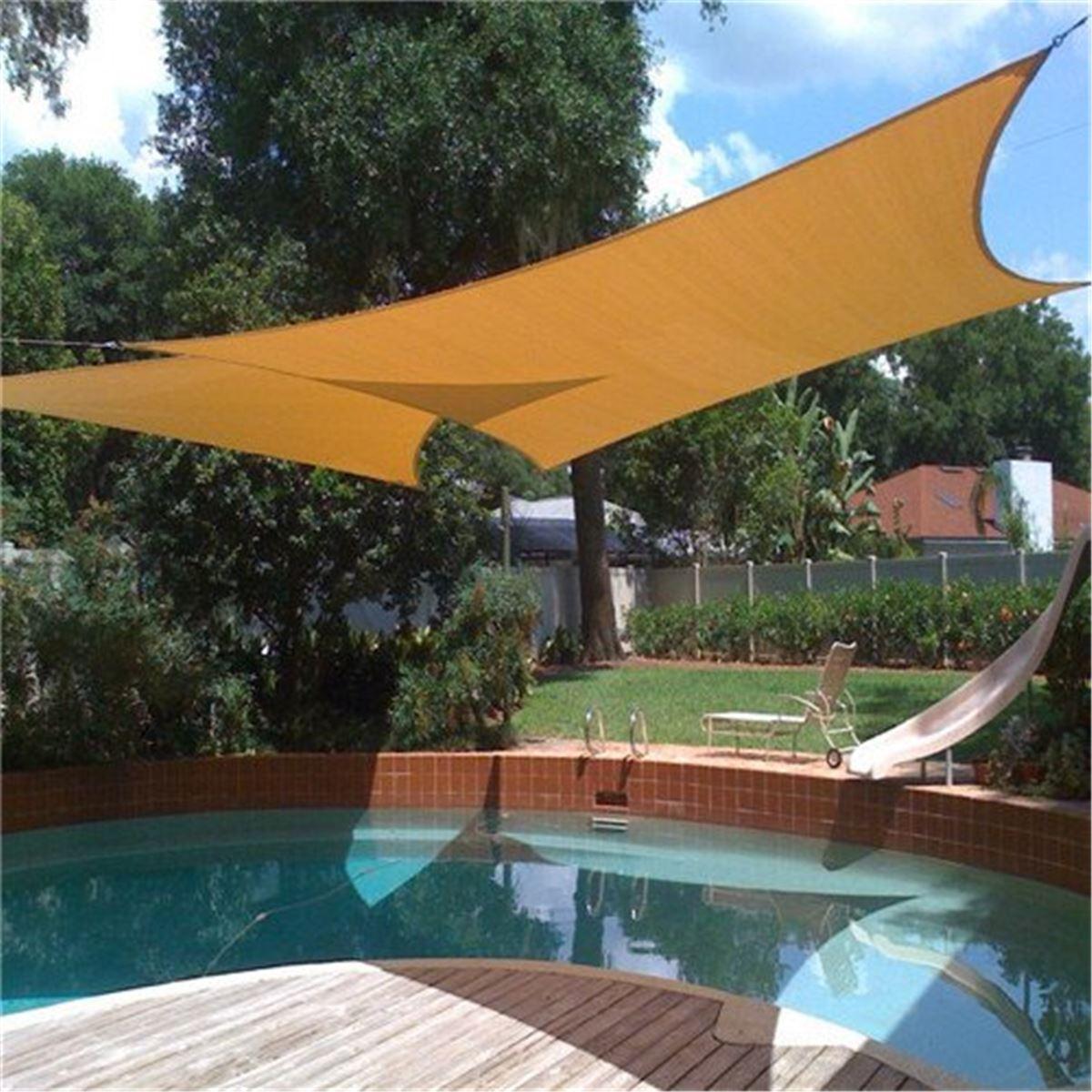 Beige Sun Shade Awning 2X1.8m Sun Block Sail Shelter Net Outdoor Garden Car  Cover