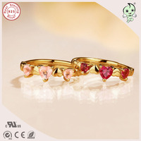 Popular Top Quality Exquisite Gold 925 Silver Heart Tourmaline Ring For Girls