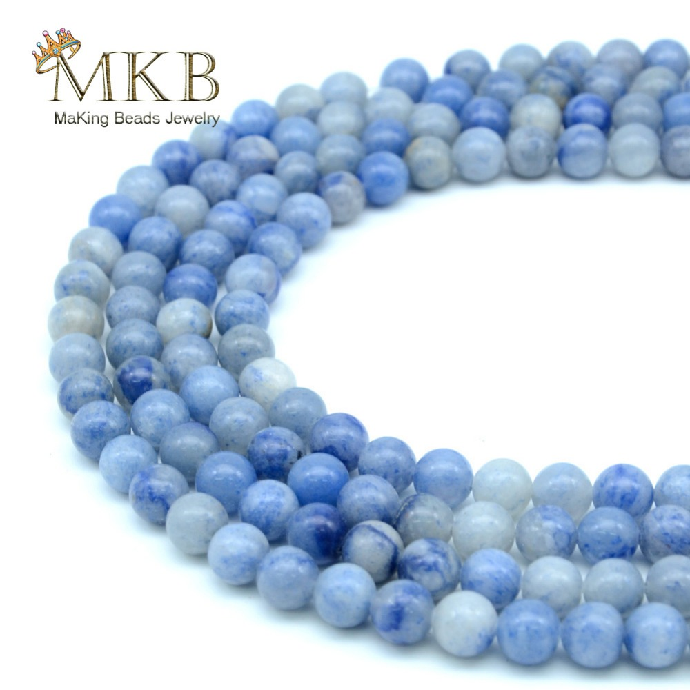 Perles Blue Aventurine Stone Natural Round Beads For Jewelry Making 4 6 8 10 12mm Spacer Beads Women Diy Bracelet Wholesale Beads & Jewelry Making Jewelry & Accessories