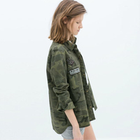 Women Camouflage Blouse Clothing Camo Casual Blusa Femme Clothes Female Lady Top Fashion T Denim Brand